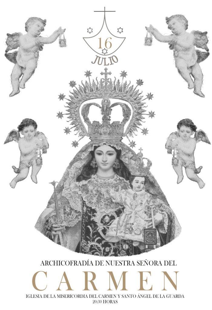 Cartel Cultos Nuestra Señora del Carmen Julio 2021